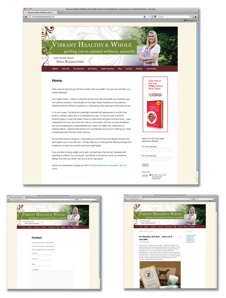 Vibrant, Healthy & Whole Website